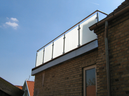 Matteret glas,altan,tag terrasse,rækværk,crosinox rustfritstål ...