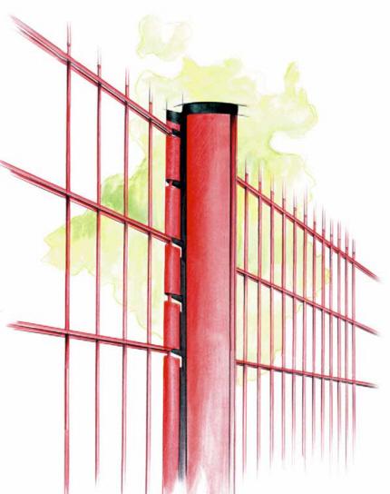 Panelhegnet`s specielle stolpe panel-vinger l�ser panelerne til stolpen og umuligg�r adskillelse efter hegn ops�tning.