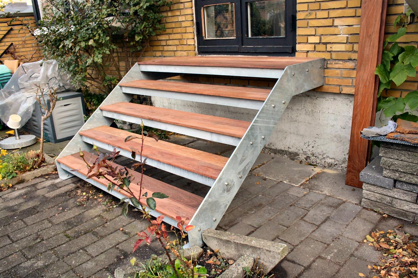 Terrassetrappe,Udendørs ståltrappe,galvaniseret,terrasse-trappe,m ...