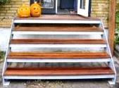 Ståltrappe, Udendørs galvaniseret ekstra bred terrassetrappe med repos, leveres i 4 forskellige højder ...