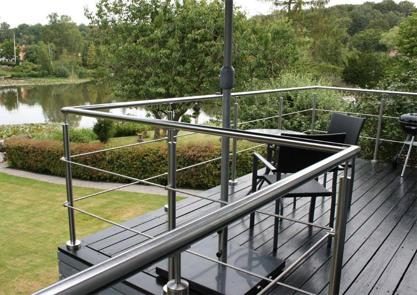 Terrasse/altan,gelænder i rustfrit stål,gelænder montering ...