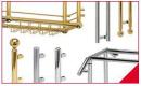 Indendørs, Glas-stel-moduler efter tegning, efter opgave. Diverse glas-metal-beslag, glas-hængsler, glas-låse, glas-stålwire-ophæng mm.